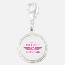 Proud Air Force Grandma W [pink] Silver Round Char