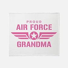 Proud Air Force Grandma W [pink] Throw Blanket