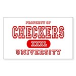 Checkers University Rectangle Sticker