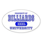 Billiards University Oval Sticker