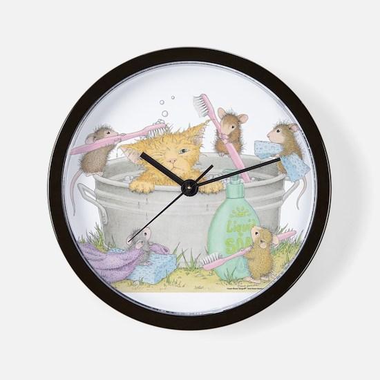 Mice Co Cat Wash Wall Clock
