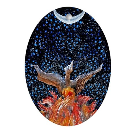 Phoenix Rising Ornament (Oval)