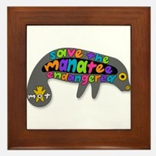 save the manatee Framed Tile