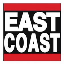 """east coast red Square Car Magnet 3"""" x 3"""""""