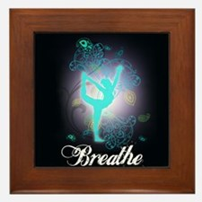 Breathe Yoga Pose Framed Tile