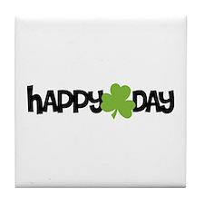 Happy Shamrock Day Tile Coaster