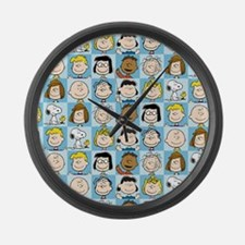 Peanuts Back to School Pattern Large Wall Clock