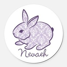 Purple chic bunny Round Car Magnet