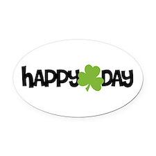 Happy Shamrock Day Oval Car Magnet