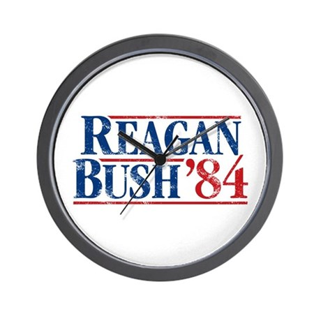 Distressed Reagan - Bush '84 Wall Clock