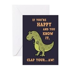 T-Rex Clap II Greeting Cards (Pk of 10)