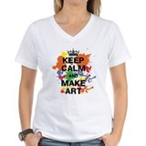 Keep calm and paint on Womens V-Neck T-shirts