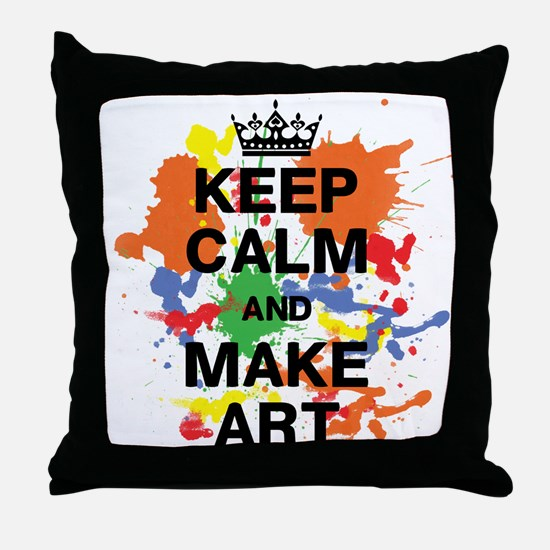 Keep Calm and Make Art Throw Pillow