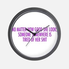 tired of her shit purple Wall Clock