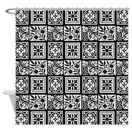 Black And White Floral Shower Curtain By Cheriverymery