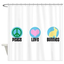 Peace Love Bunnies Shower Curtain