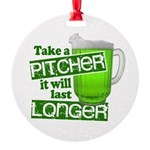Funny Green Beer Day Round Ornament