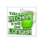 """Funny Green Beer Day Square Sticker 3"""" x 3"""""""