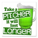 """Funny Green Beer Day Square Car Magnet 3"""" x 3"""""""