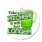 Funny Green Beer Day Round Car Magnet