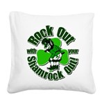 Rock Out With Your Shamrock Out Square Canvas Pill