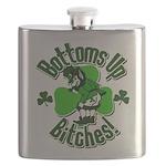 Bottoms Up Bitches Leprechaun Flask