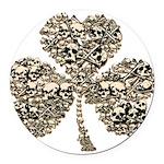 Shamrock Skulls Round Car Magnet
