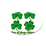One Of These Things 3d Lined.png Oval Car Magnet