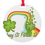 Happy St Patrick's Day Rainbo Round Ornament