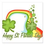 Happy St Patrick's Day Rainbo Square Car Magnet 3&