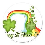 Happy St Patrick's Day Rainbo Round Car Magnet