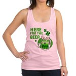 HERE FOR THE GREEN BEER DARK.png Racerback Tank To