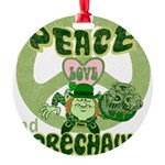 green peace love and leprechauns.png Round Ornamen