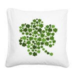 Shamrocks in a Shamrock Square Canvas Pillow