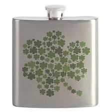 Shamrocks in a Shamrock Flask