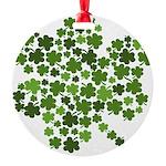 Shamrocks in a Shamrock Round Ornament