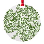 skullwhitefade.png Round Ornament