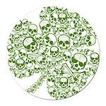 skullwhitefade.png Round Car Magnet