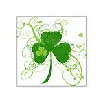 "St Paddys Day Fancy Shamroc Square Sticker 3"" x 3"""