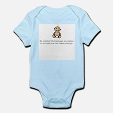 """Free diaper change..."" Infant Creeper Body Suit"