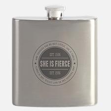 She is Fierce Badge Flask