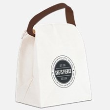 She is Fierce Badge Canvas Lunch Bag
