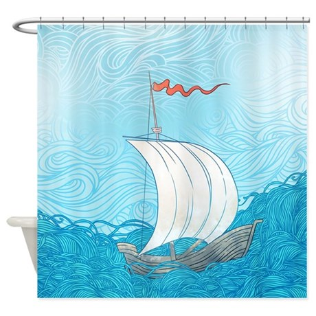 Sailboat Painting Shower Curtain