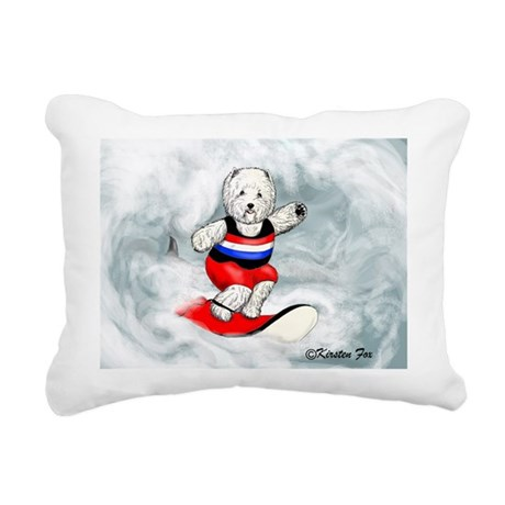 Westie Surfer Rectangular Canvas Pillow