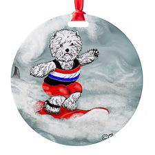 Westie Surfer Ornament
