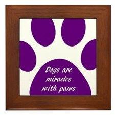purple dogs are miracles Framed Tile