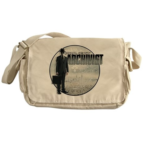 Project Archivist White T Messenger Bag