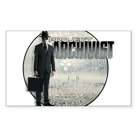 Project Archivist White T Sticker (Rectangle)