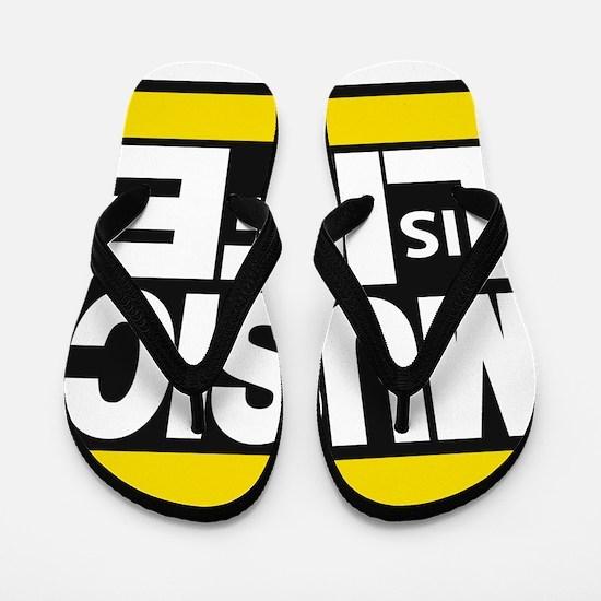 music life yellow Flip Flops