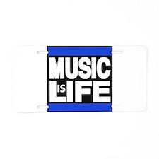 music life blue Aluminum License Plate